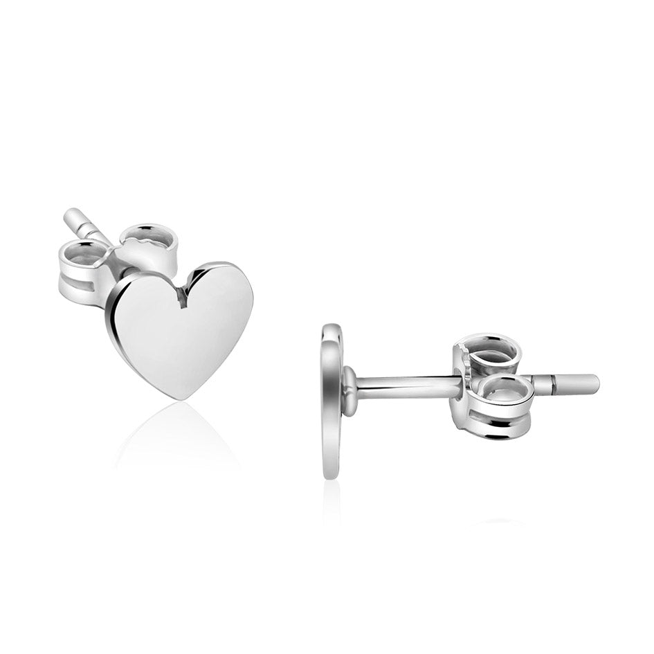 Sterling silver stud heart earrings