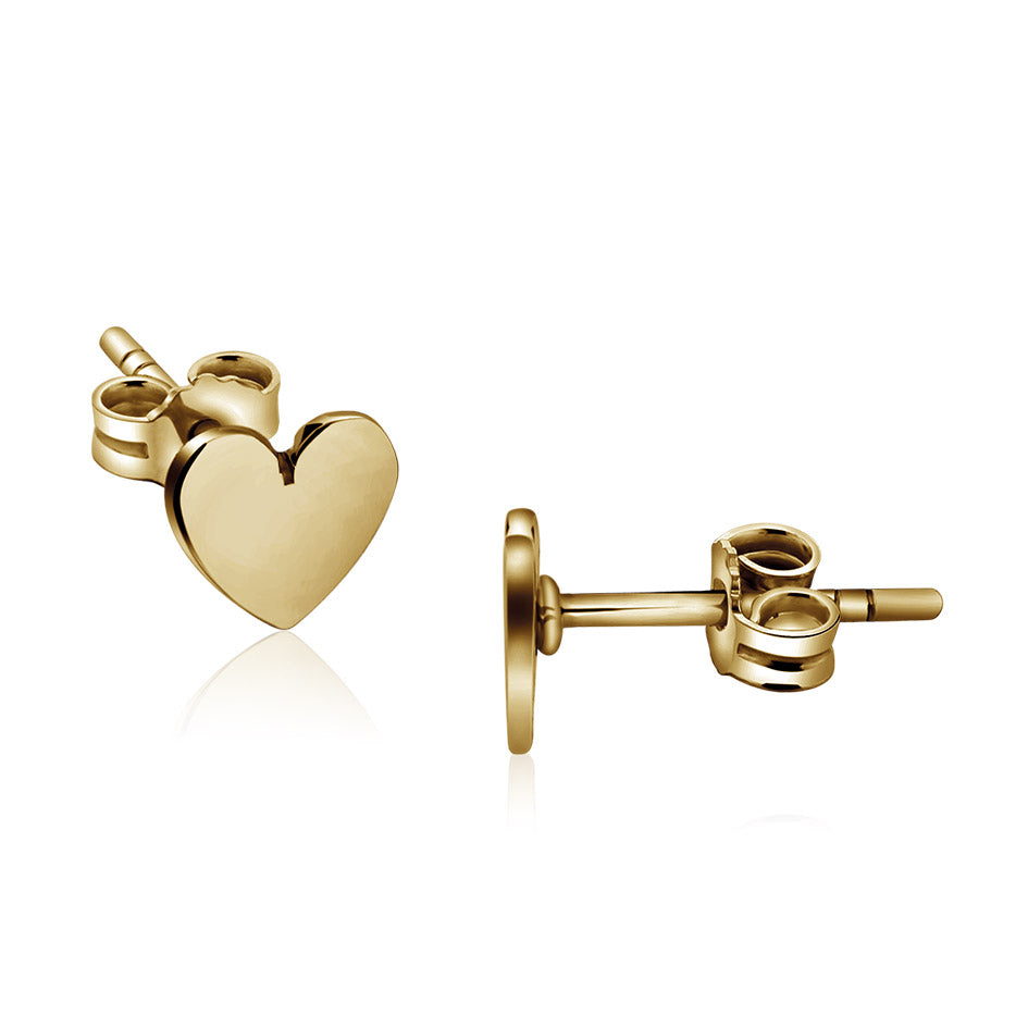 14k Gold plated Dainty Heart Stud Earrings Pair