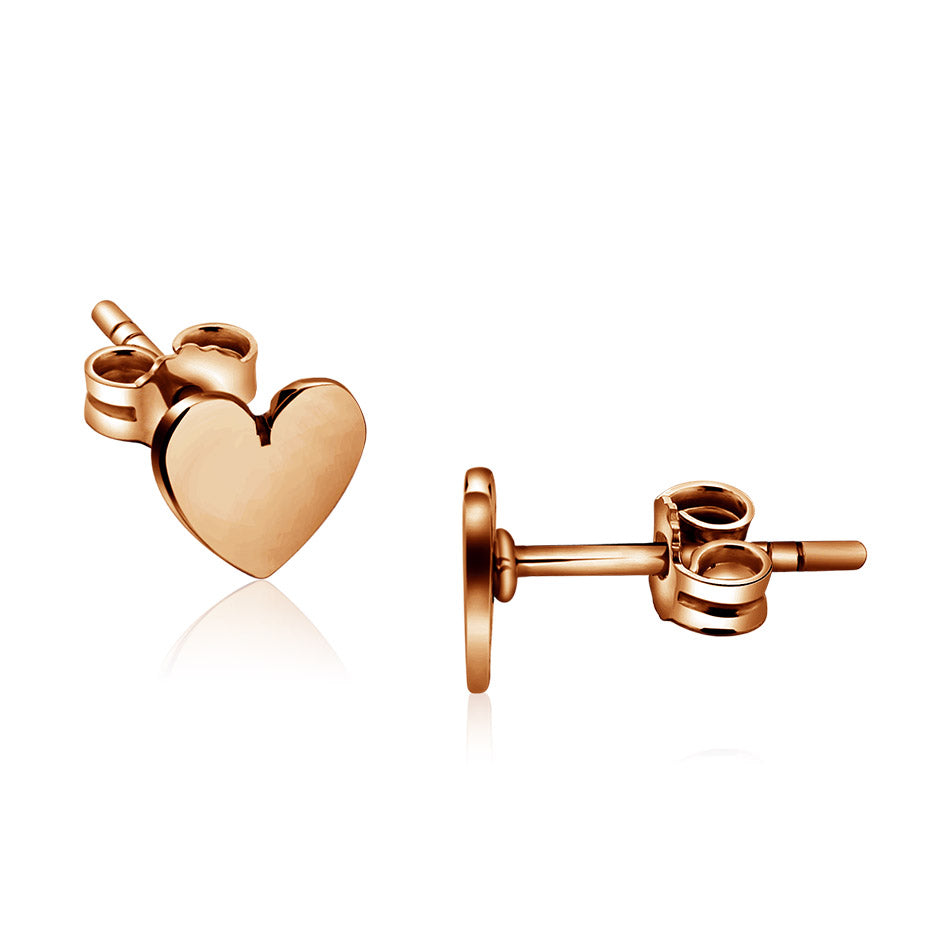 Rose gold mini stud heart earring