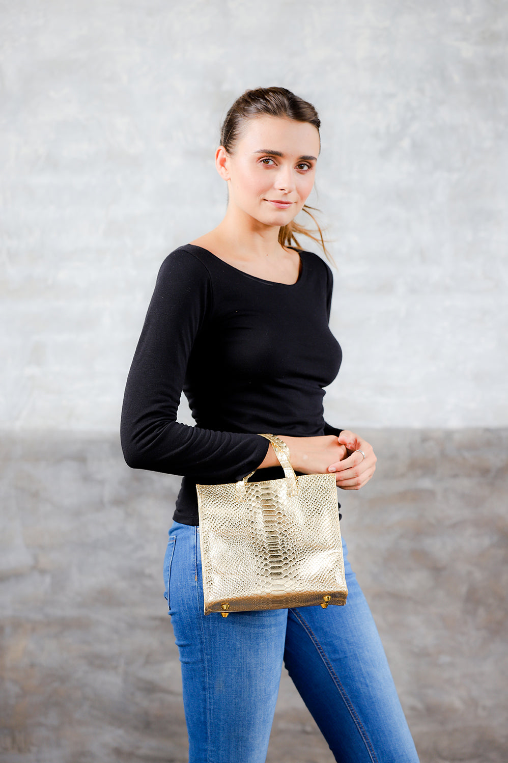 Metallic gold python leather tote; tote; bags and purses; leather tote bag; leather mini tote clare v; clare v handbags; python leather bag