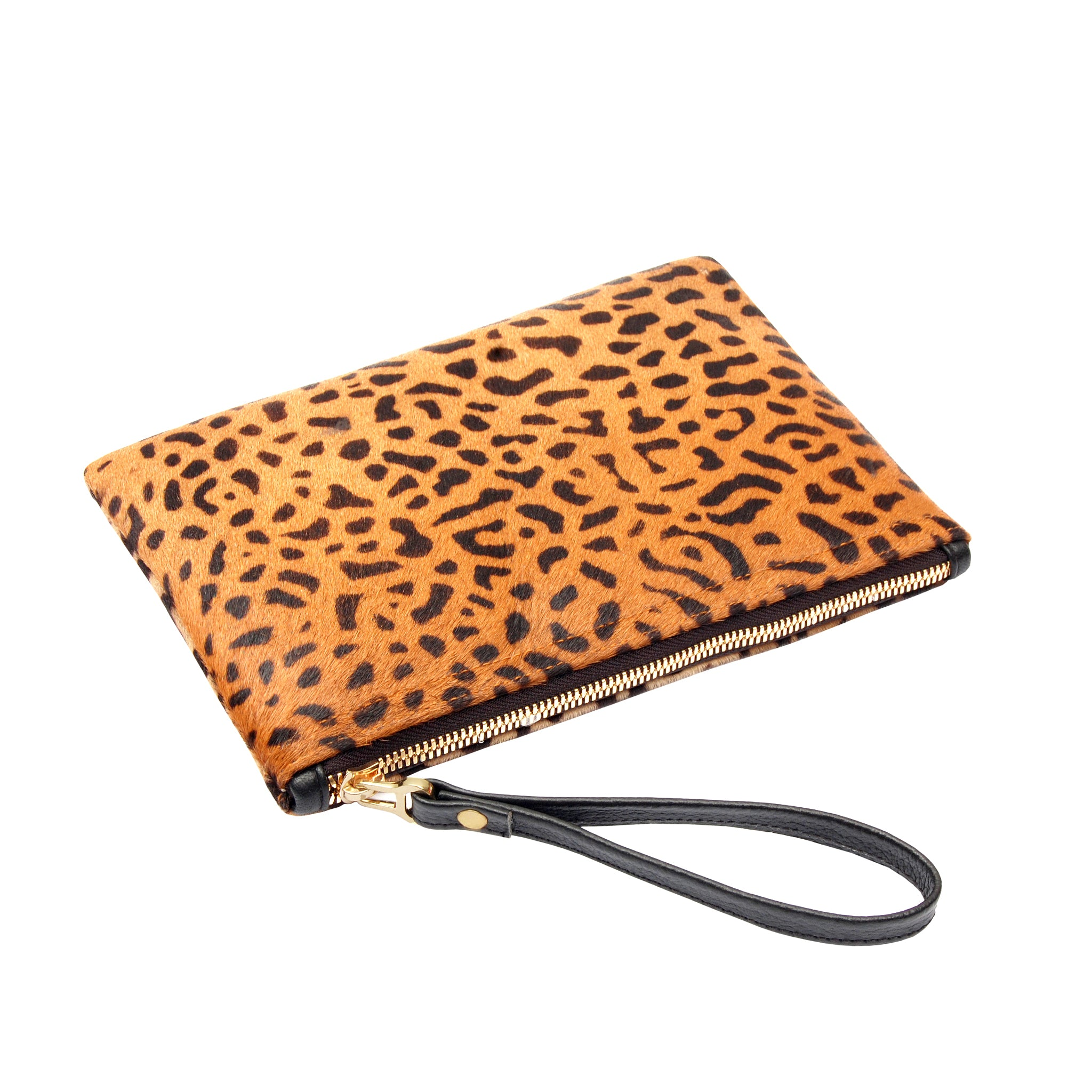 Flat Medium Spotted Leopard Wristlet Clutch Bag