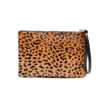 Spotted Hair on Hide Leopard Wristlet Clutch Purse Handbag Women