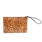 Spotted Leopard Print Leather Wristlet Evening Clutch Bag