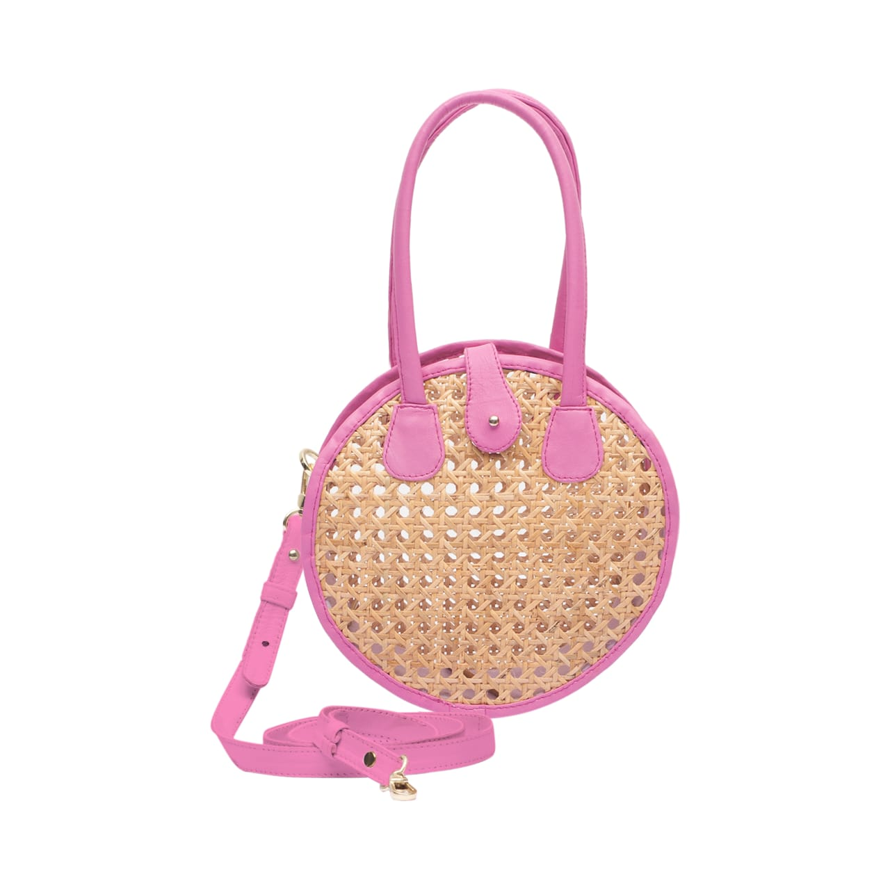 Circle Rattan & Hot Pink Leather Crossbody Bag