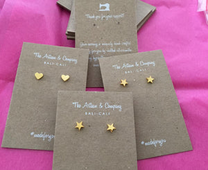 Star Stud Shape Earrings on Card Holder