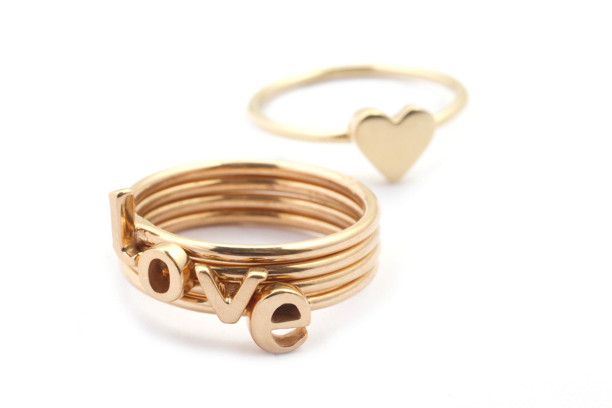 Rose Gold Stacking Alphabet Ring Lowercase Letters