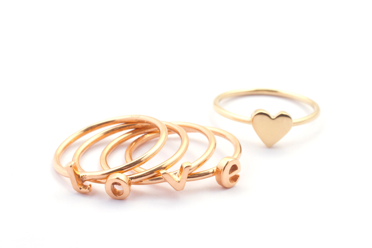 Stacking Rose Gold Letter Rings