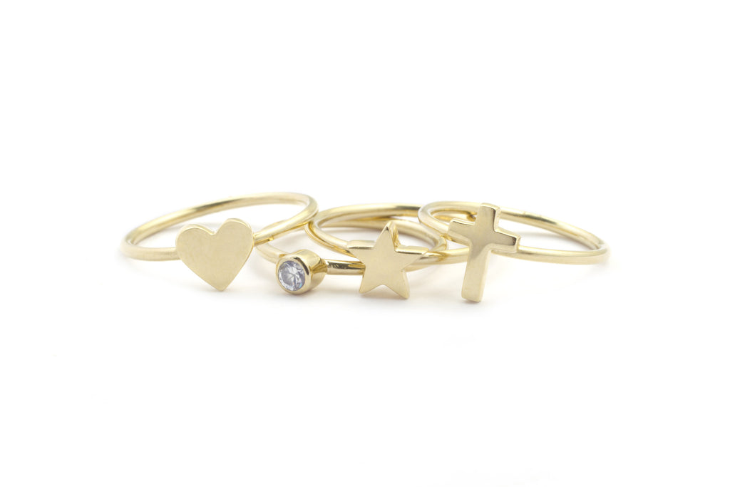 Heart Diamond Star Cross 14k Symbol Ring Jewelry 14k Gold