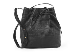 Black Genuine Leather Bucket Handbag