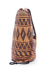 Side view Made in Bali Woven Women Basket Backpack