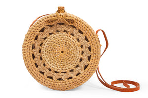 Classic Pattern Circular Ata Wicker Basket Bag