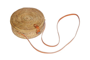 rattan round basket purse