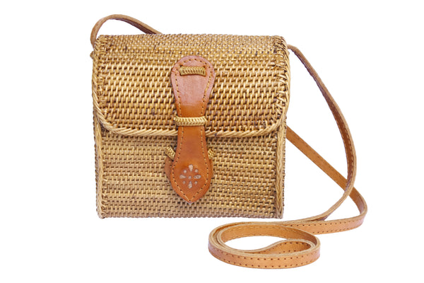 Small raffia ata shoulder bag, small woven rattan bag, Ata bag, basket bag