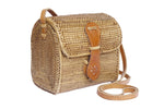 Rattan straw bag, crossbody ata handbag, rattan basket bag