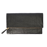 Foldover Clutch-Black Crocodile Embossed