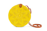 Circular Rattan Bag- Crossbody Round Shoulder Bag-Yellow