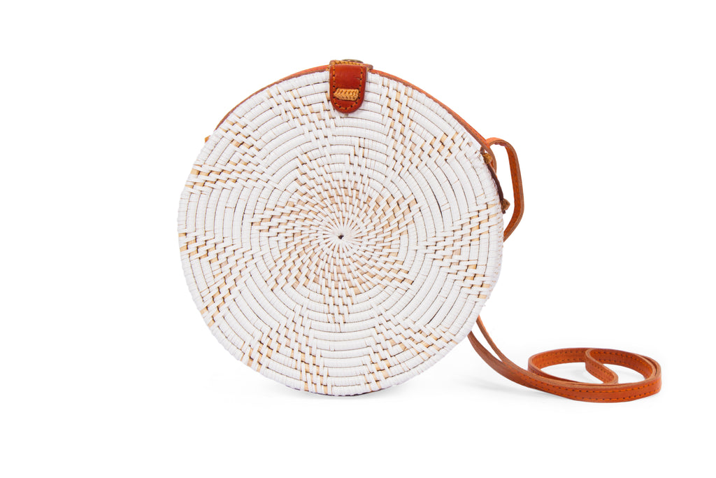 round basket bag; bali bags; circular basket bag; round bags; basket bags; basket handbags; crossbody basket bags; straw basket bags; white straw basket; round straw basket; woven straw rattan handbag; round ata bali purse; cross-body shoulder strap; circle purse; round rattan bag; natural bag; beach bag; wicker handbag