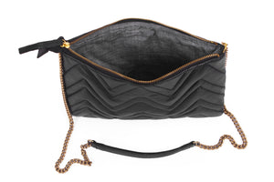 Matelassé leather clutch purse; Matelassé crossbody handbag; leather clutch; medium leather clutch; crossbody Matelassé clutch bag
