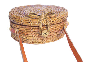 Circular Rattan Bag- Crossbody Round Shoulder Bag