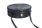 round basket bag; bali bags; circular basket bag; round bags; basket bags; basket handbags; crossbody basket bags; straw basket bags; black straw basket; round straw basket; woven straw rattan handbag; round ata bali purse; cross-body shoulder strap; circle purse; round rattan bag; natural bag; beach bag; wicker handbag