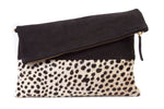 Foldover Clutch Monogrammed + Genuine Calf Hair Leopard Print + Nubuck Leather