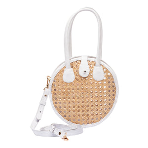 Front view Circle Rattan with White Leather Crossbody Handbag