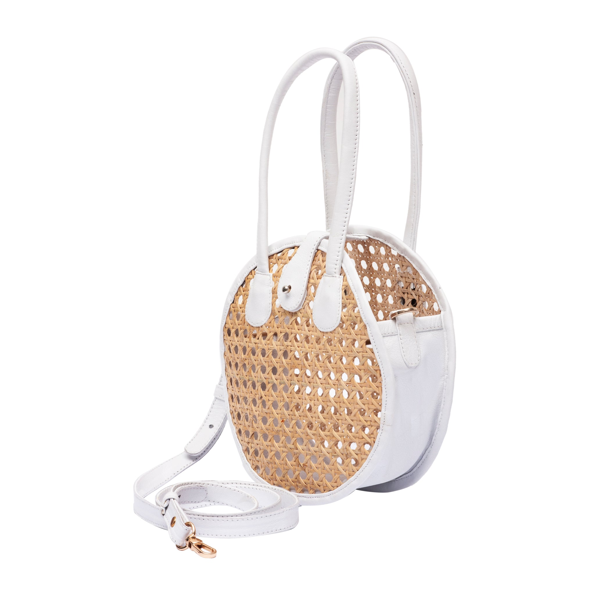 Side view Circle Rattan and White Leather Crossbody Handbag