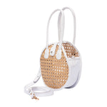 Side view Round Rattan & Leather Crossbody Bag