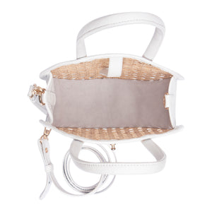 Inside view Round Rattan & Leather Crossbody Bag