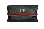 Monogrammed Black with Red Zipper Leather Foldover Clutch Handbag