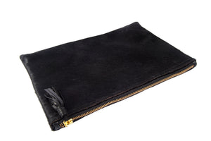 Flat Clutch-Black Calf Hair Medium Clutch