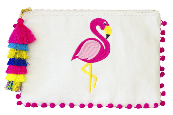 PomPom Clutch; Summer 2017 bag find; Beach bag under $50; Clutch Bag; Beach bag; embroidery pompom clutch; embroidered bag; embroidered handbag