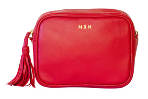 Personalize Red Mini Camera Leather Handbag for Women