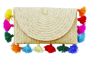 straw clutch purse; straw bag clutch natural; rio pom pom clutch; straw handbags; pom pom clutch straw; straw pom pom clutch