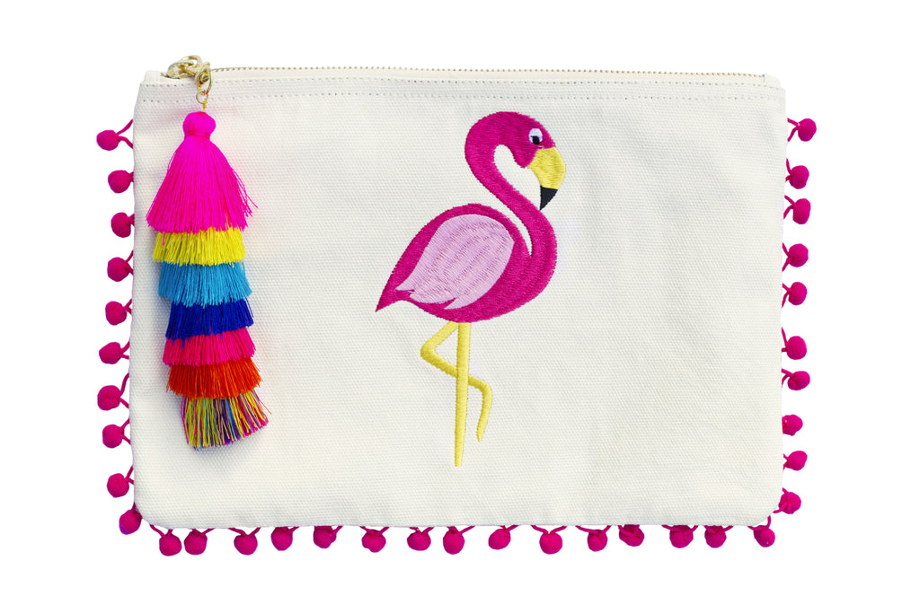 Flamingo; PomPom Clutch; Summer 2017 bag find; Beach bag under $50; Clutch Bag; Beach bag; embroidery pompom clutch; embroidered bag; embroidered handbag