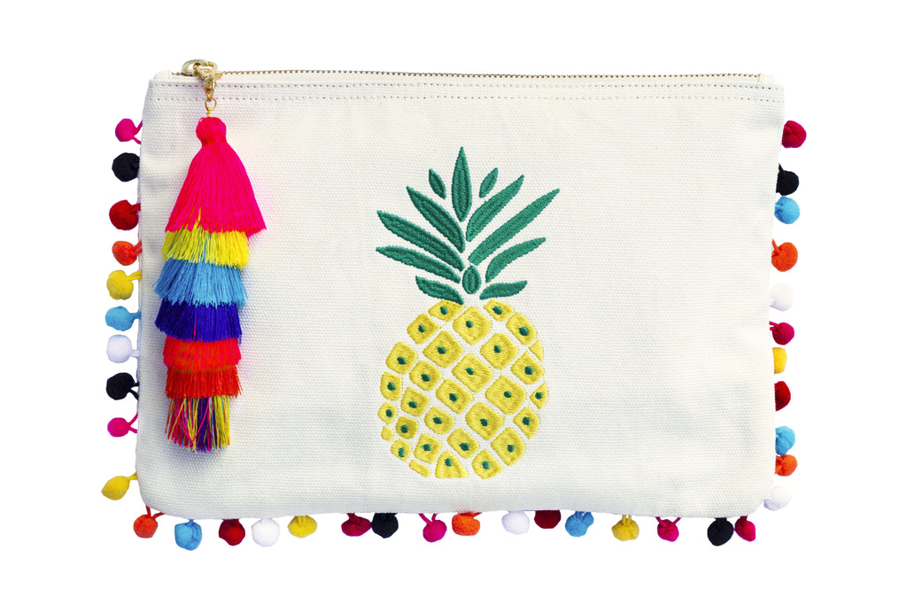 Pineapple Clutch; Pineapple Embroidery Bag; PomPom Clutch; Summer 2017 bag find; Beach bag under $50; Clutch Bag; Beach bag; embroidery pompom clutch; embroidered bag; embroidered handbag