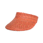 Straw Visor Wide Brim Sun Hat Peach Front View