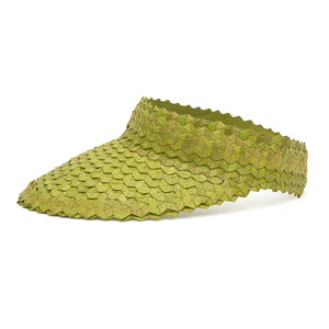 Straw Visor Wide Brim Sun Hat Bright Green Side View