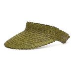 Straw Visor Wide Brim Sun Hat Forest Green Side View