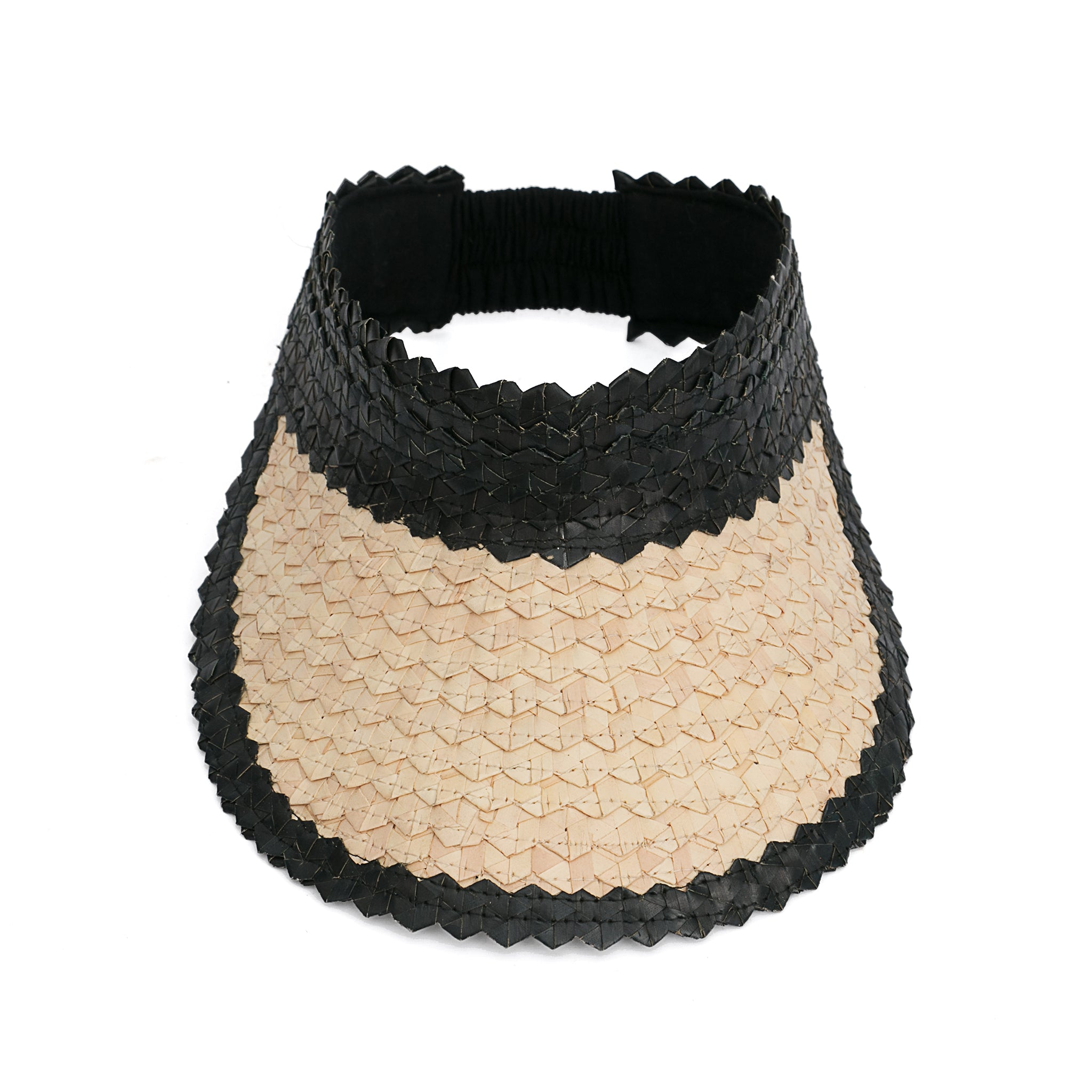 Straw Visor Wide Brim Sun Hat Natural and Black Top View