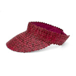 Straw Visor Wide Brim Sun Hat Maroon Side View