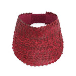 Straw Visor Wide Brim Sun Hat Maroon Top View