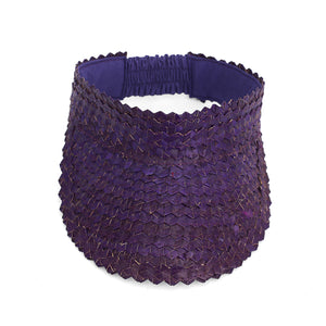 Straw Visor Wide Brim Sun Hat Purple Top View