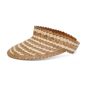 Straw Visor Wide Brim Sun Hat Two Tone Natural Side View