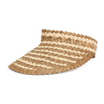 Straw Visor Wide Brim Sun Hat Natural Two Tone Front View