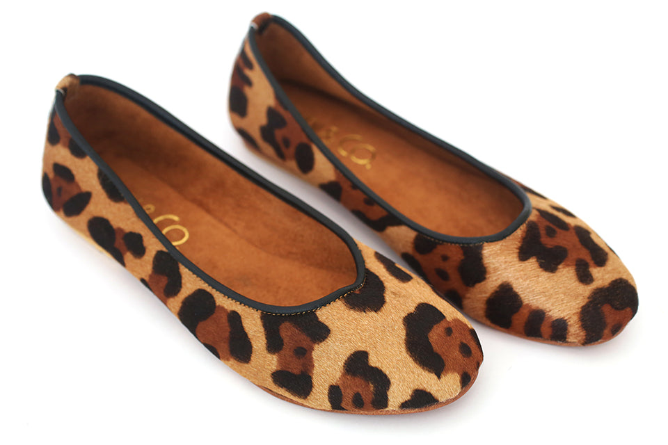 Printed Jaguar Beige Leather Ballet Flats