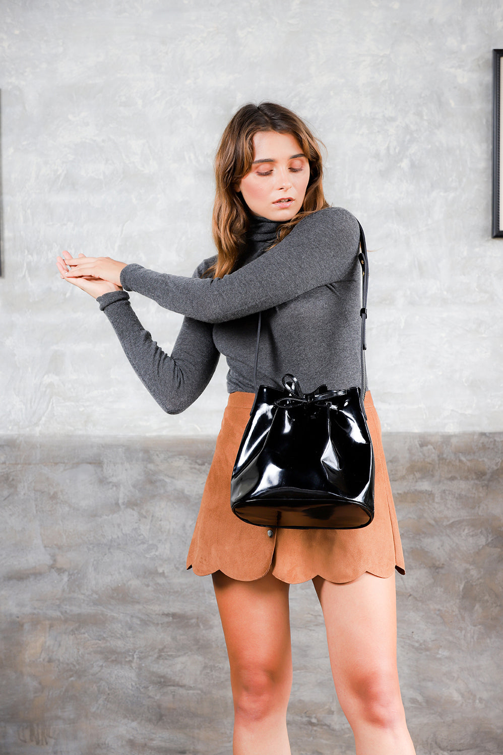 Mansur Gavriel bucket patent leather black bag; black patent leather crossbody bag; women bucket bag; leather bucket bag; italian leather patent leather mansur gavriel bag