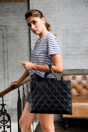 Metalasse leather bag; quilted leather bag; bags and purses; handbags for women; tote for women; leather womens tote; Tote bag; leather black tote; MZ Wallace quilted black tote; bag and purses; tote handbags; black tote bag; affordable leather tote