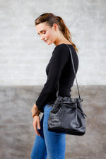 Crocodile Embossed bag; Bucket Bag; Large black bucket Bag; Cross-body bucket bag; Sezaned Bucket bag; Clare V