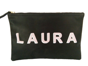 Black Flat pouch-with Monogram Shadow Text
